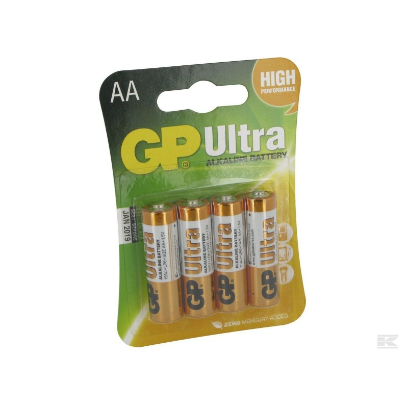 GP Ultra Batteri LR6/AA 1,5V 4 stk